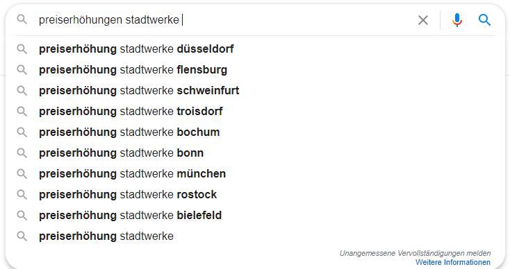 Auto-Vervollständigungen bei Google