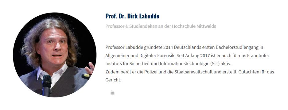 Bild von Dr. Dirk Labudde und beschreibung seiner Tätigkeiten