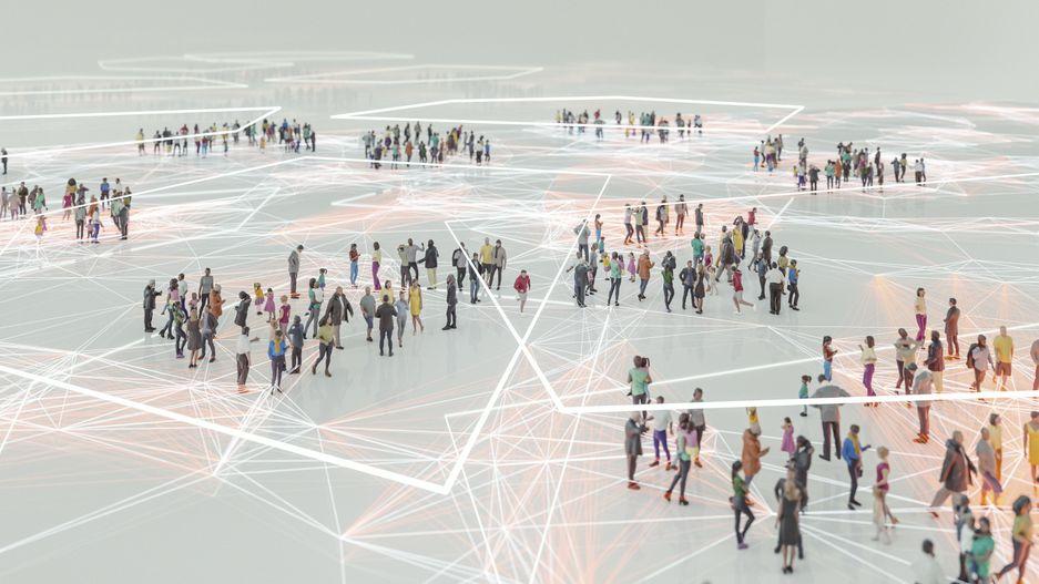 Gruppen von Menschen stehen in einem großen weißen Raum. Sie sind mit weißen Linien vernetzt.