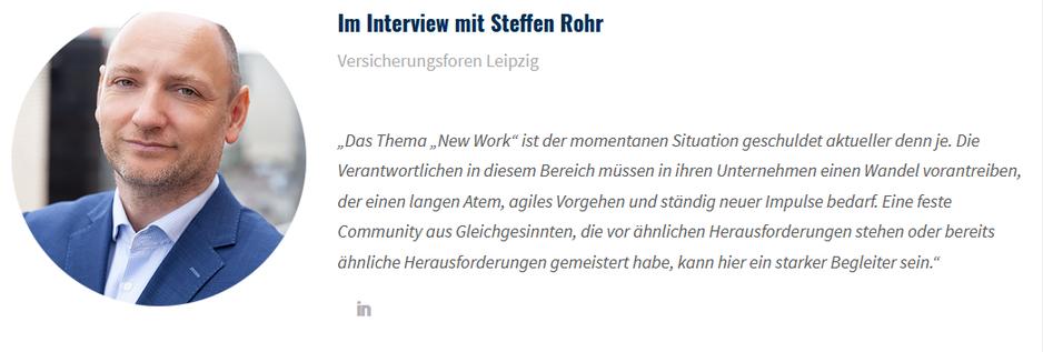 Zitat von Steffen Rohr, Versicherungsforen Leipzig, zum Thema New Work