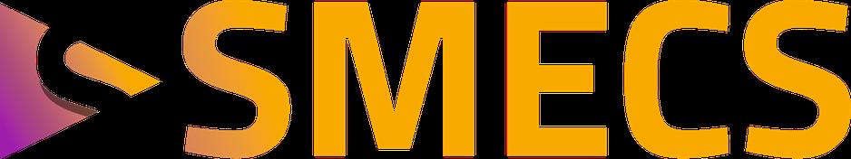 """Das Logo von SMECS. Große gelbe Buchstaben """"SMECS"""" auf dem weißen Hintergrund."""