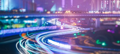 Straße beleuchtet