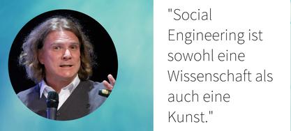 Bild von Dr. Dirk Labudde mit Zitat zum Thema Social Engineering
