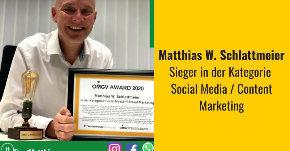OMGV Gewinner in der Kategorie Social Media Matthias Schlattmeier