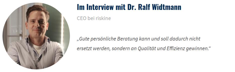 Zitat von Ralf Widtmann, CEO bei risikine