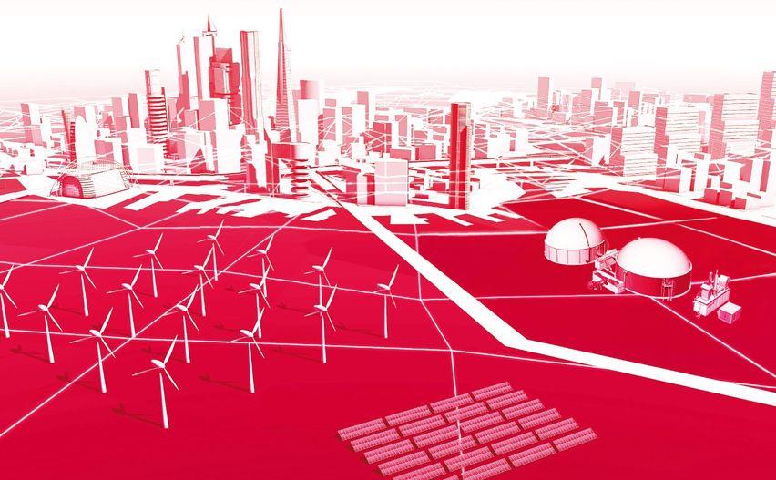 Bild was eine Stadt mit Windrädern zeigt