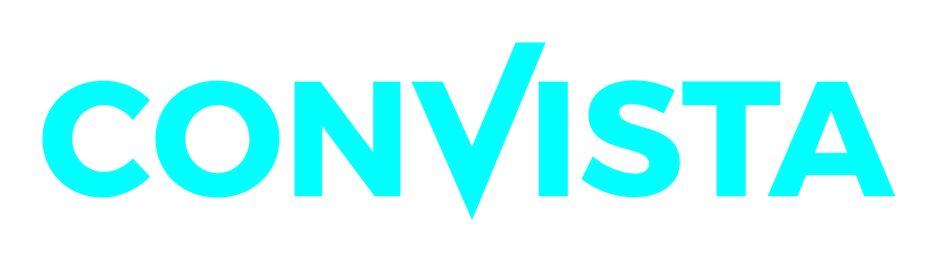 """Das Logo von der ConVista Consulting AG. Auf dem weißen Hintergrund steht das Wort """"Convista"""" in blauer Schriftfarbe. Die Rechte Seite der Buchstabe """"v"""" ist länger, als die linke Seite."""